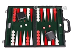 15-inch Leatherette Backgammon Set - Inlaid Velvet Field - Black/Green - Item: 3076
