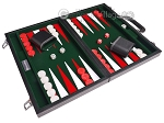 picture of 15-inch Leatherette Backgammon Set - Inlaid Velvet Field - Black/Green (2 of 12)