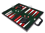 picture of 15-inch Leatherette Backgammon Set - Inlaid Velvet Field - Black/Green (3 of 12)