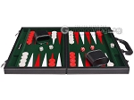 picture of 15-inch Leatherette Backgammon Set - Inlaid Velvet Field - Black/Green (4 of 12)