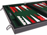 picture of 15-inch Leatherette Backgammon Set - Inlaid Velvet Field - Black/Green (5 of 12)