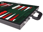 picture of 15-inch Leatherette Backgammon Set - Inlaid Velvet Field - Black/Green (6 of 12)