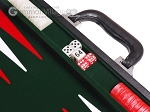 picture of 15-inch Leatherette Backgammon Set - Inlaid Velvet Field - Black/Green (7 of 12)