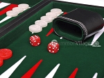 picture of 15-inch Leatherette Backgammon Set - Inlaid Velvet Field - Black/Green (8 of 12)