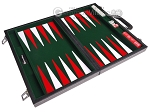picture of 15-inch Leatherette Backgammon Set - Inlaid Velvet Field - Black/Green (10 of 12)