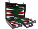 picture of 15-inch Leatherette Backgammon Set - Inlaid Velvet Field - Black/Green (11 of 12)