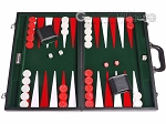 18-inch Leatherette Backgammon Set - Inlaid Velvet Field - Black/Green - Item: 3077