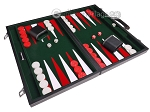 picture of 18-inch Leatherette Backgammon Set - Inlaid Velvet Field - Black/Green (2 of 12)