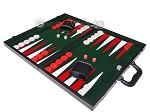 picture of 18-inch Leatherette Backgammon Set - Inlaid Velvet Field - Black/Green (3 of 12)