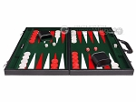 picture of 18-inch Leatherette Backgammon Set - Inlaid Velvet Field - Black/Green (4 of 12)