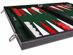 picture of 18-inch Leatherette Backgammon Set - Inlaid Velvet Field - Black/Green (5 of 12)