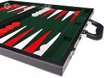 picture of 18-inch Leatherette Backgammon Set - Inlaid Velvet Field - Black/Green (6 of 12)