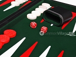 picture of 18-inch Leatherette Backgammon Set - Inlaid Velvet Field - Black/Green (8 of 12)