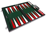 picture of 18-inch Leatherette Backgammon Set - Inlaid Velvet Field - Black/Green (10 of 12)