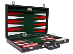 picture of 18-inch Leatherette Backgammon Set - Inlaid Velvet Field - Black/Green (11 of 12)