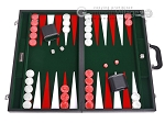 21-inch Leatherette Backgammon Set - Inlaid Velvet Field - Black/Green - Item: 3078