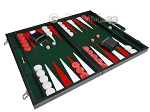 picture of 21-inch Leatherette Backgammon Set - Inlaid Velvet Field - Black/Green (2 of 12)