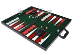 picture of 21-inch Leatherette Backgammon Set - Inlaid Velvet Field - Black/Green (3 of 12)