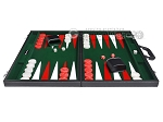picture of 21-inch Leatherette Backgammon Set - Inlaid Velvet Field - Black/Green (4 of 12)
