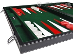 picture of 21-inch Leatherette Backgammon Set - Inlaid Velvet Field - Black/Green (5 of 12)