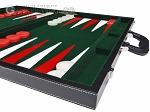 picture of 21-inch Leatherette Backgammon Set - Inlaid Velvet Field - Black/Green (6 of 12)