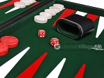 picture of 21-inch Leatherette Backgammon Set - Inlaid Velvet Field - Black/Green (8 of 12)