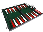 picture of 21-inch Leatherette Backgammon Set - Inlaid Velvet Field - Black/Green (10 of 12)