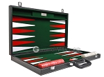 picture of 21-inch Leatherette Backgammon Set - Inlaid Velvet Field - Black/Green (11 of 12)