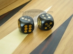 5/8 in. Rounded Wood Dice - Black (1 pair)