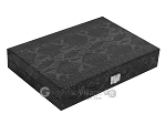 Hector Saxe Python Leather Travel Backgammon Set - Black - Item: 2750