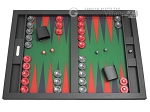 Hector Saxe Leatherette Tabletop Backgammon Set - Black with Green Field - Item: 1070