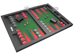 picture of Hector Saxe Leatherette Tabletop Backgammon Set - Black with Green Field (2 of 11)