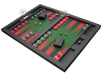 picture of Hector Saxe Leatherette Tabletop Backgammon Set - Black with Green Field (3 of 11)
