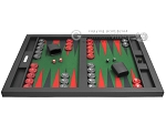 picture of Hector Saxe Leatherette Tabletop Backgammon Set - Black with Green Field (4 of 11)