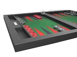 picture of Hector Saxe Leatherette Tabletop Backgammon Set - Black with Green Field (5 of 11)