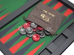 picture of Hector Saxe Leatherette Tabletop Backgammon Set - Black with Green Field (11 of 11)