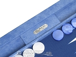 picture of Hector Saxe Faux Snake Tabletop Backgammon Set - Blue (7 of 11)