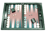 Hector Saxe Faux Croco Tabletop Backgammon Set - Emerald Green - Item: 2740