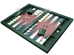 picture of Hector Saxe Faux Croco Tabletop Backgammon Set - Emerald Green (3 of 11)