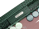 picture of Hector Saxe Faux Croco Tabletop Backgammon Set - Emerald Green (7 of 11)