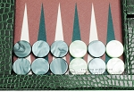picture of Hector Saxe Faux Croco Tabletop Backgammon Set - Emerald Green (8 of 11)
