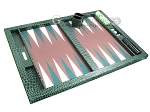 picture of Hector Saxe Faux Croco Tabletop Backgammon Set - Emerald Green (10 of 11)