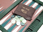 picture of Hector Saxe Faux Croco Tabletop Backgammon Set - Emerald Green (11 of 11)