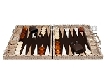 Hector Saxe Python Leather Backgammon Set - Beige