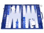 picture of Hector Saxe Python Leather Backgammon Set - Blue (1 of 12)