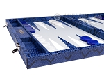 picture of Hector Saxe Python Leather Backgammon Set - Blue (5 of 12)