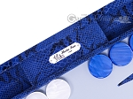 picture of Hector Saxe Python Leather Backgammon Set - Blue (8 of 12)