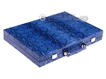 Hector Saxe Python Leather Backgammon Set - Blue - Item: 2748