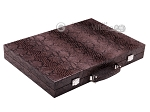 Hector Saxe Python Leather Backgammon Set - Brown