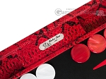 picture of Hector Saxe Python Leather Backgammon Set - Red (8 of 12)